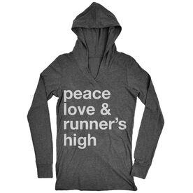 Women's Running Lightweight Performance Hoodie - Peace Love & Runner's High