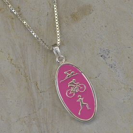 Sterling Silver and Pink Enamel Swim Bike Run Triathlon Icon Necklace