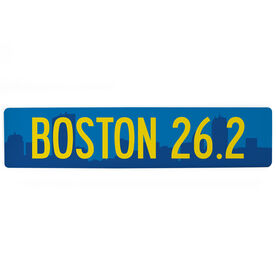 "Running Aluminum Room Sign - Boston City 26.2 (4""x18"")"