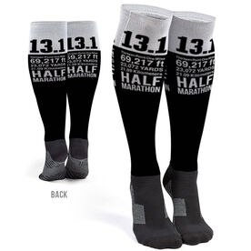 Running Printed Knee-High Socks - 13.1 Math Miles