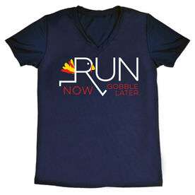 Women's Short Sleeve Tech Tee - Let's Run Now Gobble Later