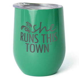Running Stainless Steel Wine Tumbler - She Run This Town Logo