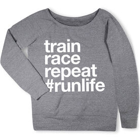 Running Fleece Wide Neck Sweatshirt - Train Race Repeat