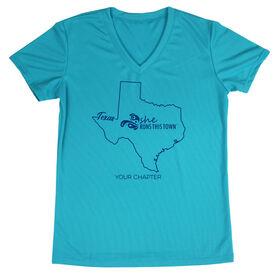 Women's Running Short Sleeve Tech Tee - She Runs This Town Texas Runner