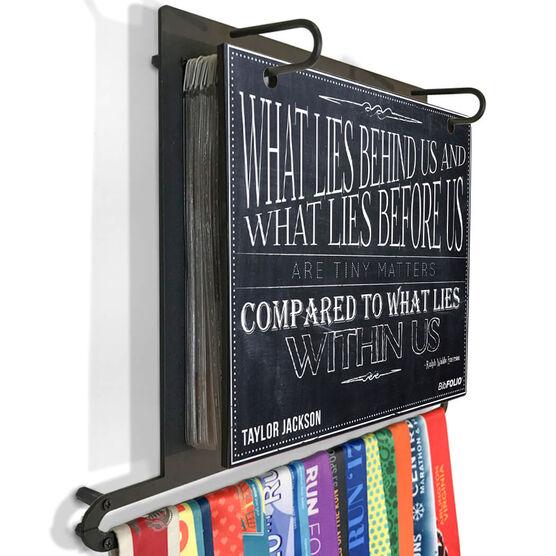 BibFOLIO+™ Race Bib and Medal Display Chalkboard What Lies Behind Us