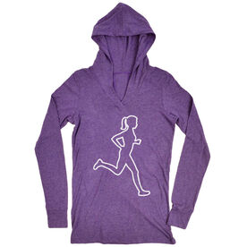 Women's Running Lightweight Performance Hoodie - Female Runner Outline