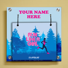 Personalized Run Like a Girl (Forest) Wall BibFOLIO® Display