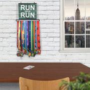 BibFOLIO+™ Race Bib and Medal Display Run Name Run (Rustic)
