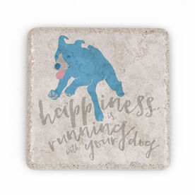 Running Stone Coaster Happiness is Running With Your Dog