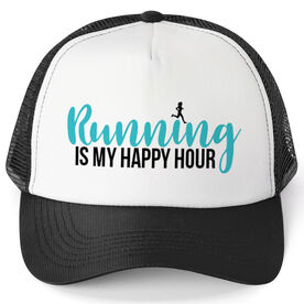 Running Trucker Hat - Running Is My Happy Hour
