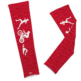 Triathlon Printed Arm Sleeves Swim Bike Run Female Icons