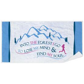 Running Premium Beach Towel - Into The Forest I Go (Female)
