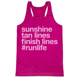 Women's Racerback Performance Tank Top - Sunshine Tan Lines Finish Lines