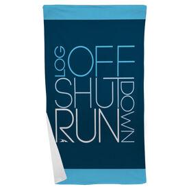 Running Beach Towel Log Off Shut Down (Stacked)