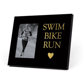 Triathlon Photo Frame - Swim Bike Run Heart