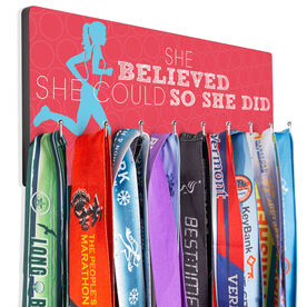 Running Hooked on Medals Hanger - She Believed She Could So She Did (Silhouette)