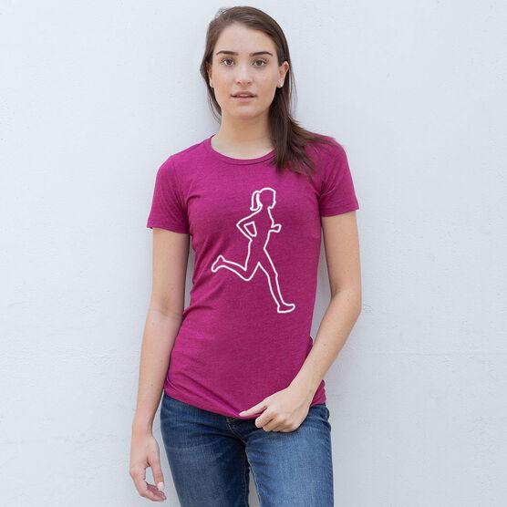 Women's Everyday Runners Tee - Female Runner Outline
