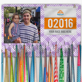 Running Large Hooked on Medals and Bib Hanger - Custom Photo