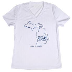 Women's Running Short Sleeve Tech Tee - Moms Run This Town Michigan Runner
