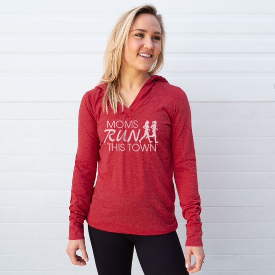 Women's Running Lightweight Performance Hoodie - Moms Run This Town Logo (White)