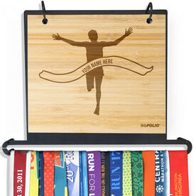 Engraved Bamboo BibFOLIO Plus Race Bib and Medal Display Pride Is Forever Male