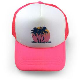 Running Trucker Hat Find Lost Female Silhouette