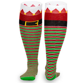 Woven Knee High Socks - Santa's Elf