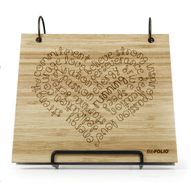 Engraved Bamboo Wood BibFOLIO® Race Bib Album - Running Inspiration Heart