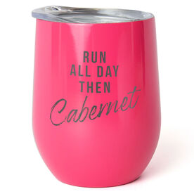 Running Stainless Wine Tumbler - Run All Day Then Cabernet
