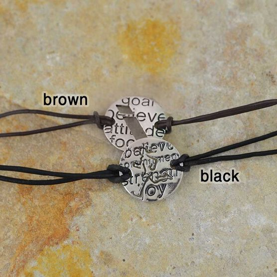 Never Never Give Up Mantra Cord Bracelet