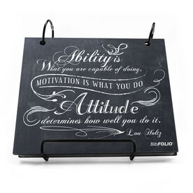 BibFOLIO® Race Bib Album - Ability Is What You Are Capable Of Doing Chalkboard