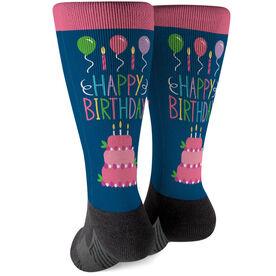 Printed Mid-Calf Socks - Happy Birthday