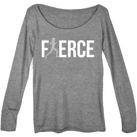 Women's Runner Scoop Neck Long Sleeve Tee Fierce Runner Girl with Silver Glitter