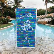 Triathlon Premium Beach Towel - Triathlon Swim Bike Run Repeat Girls