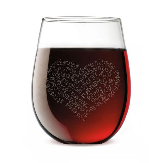Running Stemless Wine Glass Running Inspirational Heart