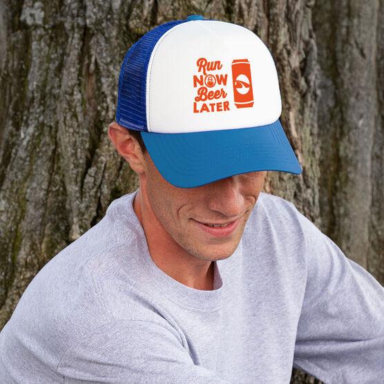 Running Trucker Hat Run Now Beer Later