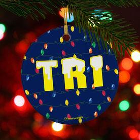 Triathlon Porcelain Ornament Tri Christmas Lights
