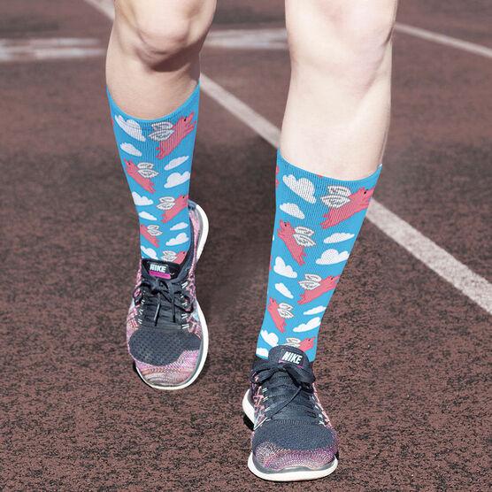 Running Printed Mid-Calf Socks - Flying Pigs