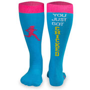 Woven Yakety Yak! Knee High Socks - You Just Got Chicked (Teal/Hot Pink)