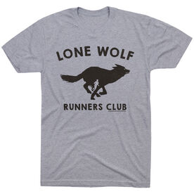 Running Short Sleeve T-Shirt - Run Club Lone Wolf [Gray/Adult Medium] - SS