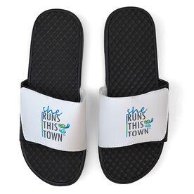 Running White Slide Sandals - She Runs This Town Stacked