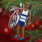 Triathlete Ornament - Black Female
