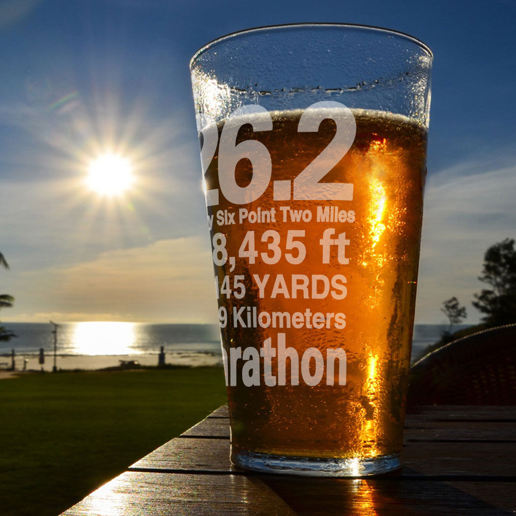 16 oz. 26.2 Math Miles Engraved Beer Pint Glass By Gone For a Run