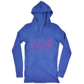 Women's Running Lightweight Performance Hoodie - Moms Run This Town Logo (Pink)