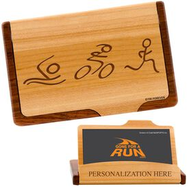 Swim, Bike, Run Figures Maple Business Card/Credit Card Holder