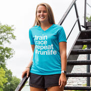 Women's Running Short Sleeve Tech Tee - Train Race Repeat