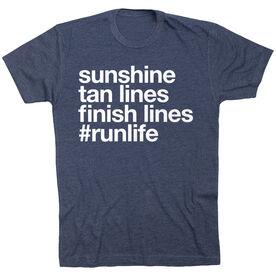 Running Short Sleeve T-Shirt - Sunshine Tan Lines Finish Lines