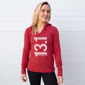 Women's Running Lightweight Performance Hoodie 13.1 Half Marathon Vertical