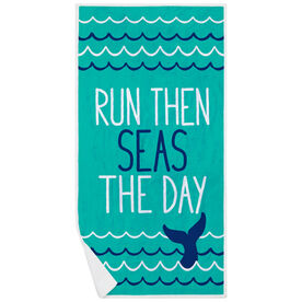 Running Premium Beach Towel - Run Then Seas The Day