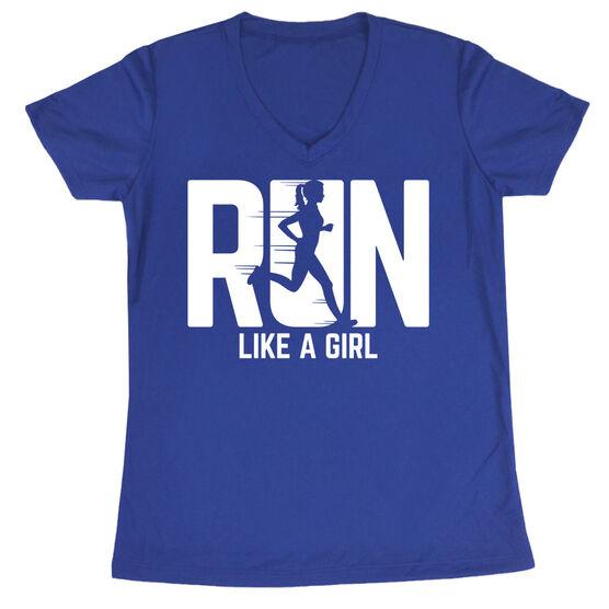 Women's Running Short Sleeve Tech Tee - Run Like A Girl